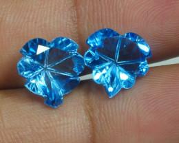 8.990 CRT LOVELY PAIR SWISS BLUE TOPAZ CARVING-