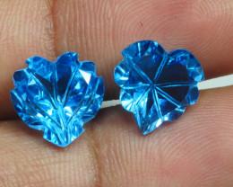 9.505 CRT PAIR LOVELY SWISS BLUE TOPAZ CARVING-