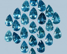 15.10Cts Natural Sparkling Blue Zircon 6x4mm Pear Cut  Cambodia