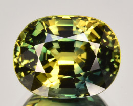 ~CERTIFIED~ 4.33 Cts Natural Bi-Color Green Sapphire Oval Cut Gem