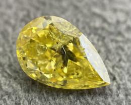 GIA Pear Shape 1.01 Carat Natural Loose Fancy Vivid Yellow Diamond | Zimmi