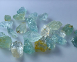 NR!!! 43.80 Cts Natural & Unheated~ Blue Aquamarine Rough Lot