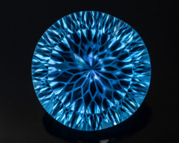 Monster !! Exotic Blue 32.0 Ct Natural Laser & Flower Cut Topaz~GAM