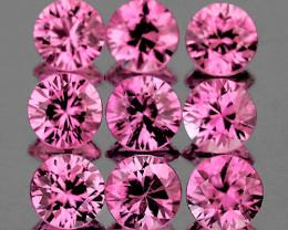 2.80 mm Round Machine Cut 9pcs 0.91ct Unheated Pink Sapphire [VVS]