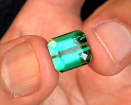 6 Carats Shiny Green Tourmaline Cut Stone Perfect Cut from Afghanistan