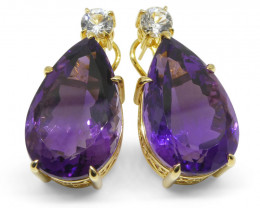 36.50ct Amethyst and White Sapphire Omega Back Earrings set in 14kt Yellow