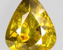 7.25Ct. Sparkling! Natural Greenish Yellow Sphene Pear Unheated (Rainbow Fl