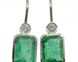 3.08ct Emerald & Diamond Earrings set in 14kt White Gold