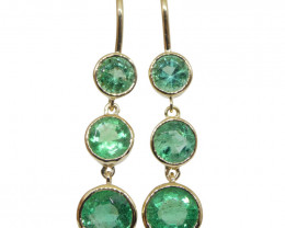 3.22ct Round Emerald Earrings set in 14kt Yellow Gold