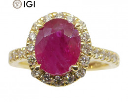 2.17ct Ruby & Diamond Halo Ring in 18kt Yellow Gold IGI Certified Mozambiqu