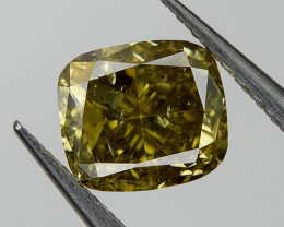 Color Change Fancy Chameleon Green Loose Natural Diamond 0.48 Ct.  Cushion