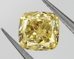 Fancy Yellow SI1 Loose Natural Diamond 0.52 Ct. Cushion Untreated