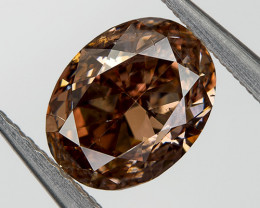 Fancy Cognac C7 VS2 Loose Natural Diamond 0.57 Ct. Oval Untreated