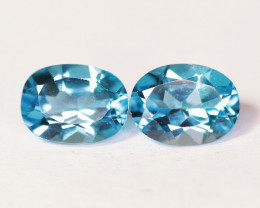 3.05 Cts Paired Super Swiss Blue Color Natural Topaz Gemstones
