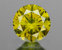 *No Reserve* Diamond 0.13 Cts Sparkling Fancy Greenish Yellow Color Natural