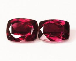 5.83 Cts Paired Unheated Cherry Pinkish Red Rhodolite Garnet  Gemstone