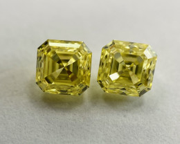IGL Certified Asscher Cut 0.67 Carat Natural Fancy Vivid Yellow Diamond Pai