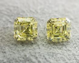IGL Certified Asscher Cut 0.60 Carat Natural Fancy Intense Yellow VVS1 Diam