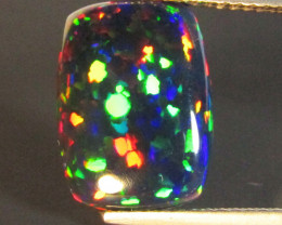 2.64Cts Natural Earth Mined Color Play Black Opal Cushion Cabochon Gem REF