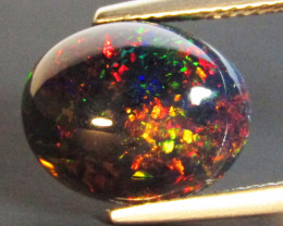 3.69Cts Natural Earth Mined Color Play Black Opal Oval Cabochon Gem REF VOD