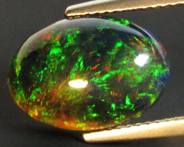 4.58Cts Natural Earth Mined Color Play Black Opal Oval Cabochon Gem REF VOD