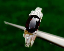 17CT GARNET 925 SILVER RING BEST QUALITY GEMSTONE IIGC41