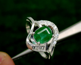 17CT NATURAL EMERALD 925 SILVER RING BEST QUALITY GEMSTONE IIGC41