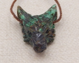 14.5cts hand carved wolf pendant ,african turquoise wolf ,wolf head pendant