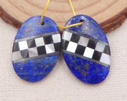 25.5cts shell,obsidian and lapis lazuli gemstone intarsia gemstone earring