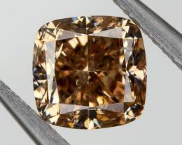 Fancy Peach Champagne Loose Natural Diamond 0.63  Ct. Cushion Untreated
