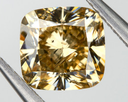 Fancy Orange Yellow Loose Natural Diamond 0.81 Ct. Cushion Untreated
