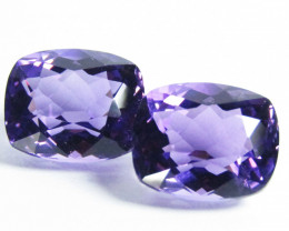 8.90Cts Excellent Quality Natural Amethyst Cushion Cut Matching Pair REF VI
