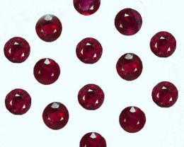 0.96 Cts Burmese Natural Ruby 2.4mm Round Cut Red 14Pcs Parcel