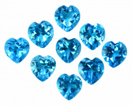 5.48 Cts Natural Baby Blue Topaz 5mm Lovely Heart Cut 9Pcs USA