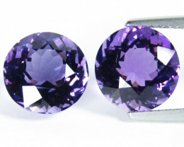 5.50Cts Excellent Quality Natural Amethyst  Round Cut Matching Pair