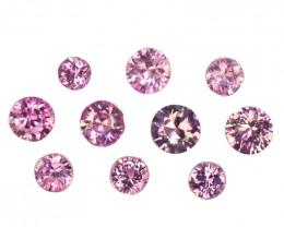 1.06 Cts Natural Pink Sapphire 3.0-2.5mm Round Cut 10 Pcs Parcel