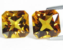 5.23Cts Genuine  Natural Citrine Radiant Cut Cut 8mm Collator Pair REF VIDE