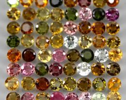 VVS 5.45 Ct. 2.7mm. 70pcs Round Cut 100% Natural Top Fancy Colors Tourmalin