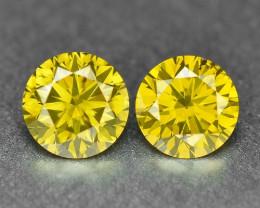 *No Reserve* Diamond 0.48 Cts 2pcs Sparkling Fancy Vivid Yellow Color Natur