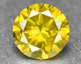 *No Reserve* Diamond 0.30 Cts Sparkling  Fancy Vivid Yellow Color Natural D
