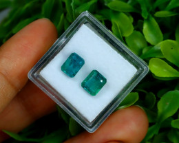 2.67Ct 2Pcs Octagon Cut Natural Zambian Green Emerald A1919