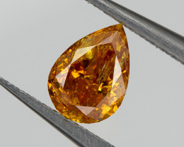 Fancy Vivid Yellow Orange Loose Natural Diamond 0.28 Ct. Pear Untreated