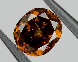 Fancy Orange Cognac Loose Natural Diamond 0.32 Ct Oval Untreated
