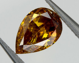 Fancy Red Orange Yellow Loose Natural Diamond 0.35 Ct. Pear Untreated