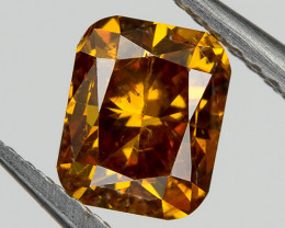Fancy Red Orange Loose Natural Diamond 0.51 Ct. Cushion Untreated