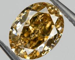 Fancy Orange Brown VS2 Loose Natural Diamond 0.54 Ct Oval Untreated