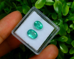 2.47Ct 2Pcs Oval Cut Natural Zambian Green Color Emerald B2002