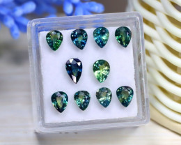 4.69Ct Pear Cut Natural Australian Parti Sapphire Lot Box B2005