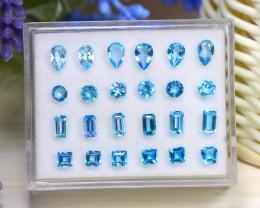 Topaz 7.49Ct Fancy Cut Natural Swiss Blue Topaz Lot Box B2025