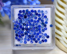 3.66Ct Calibrate 1.9mm Round Natural Blue Color Sapphire Lot B2031